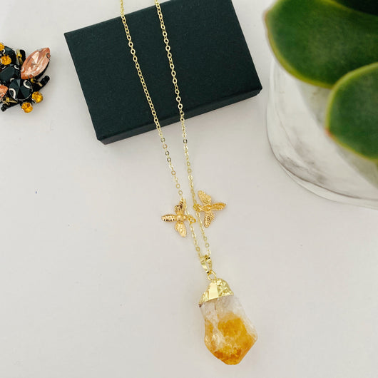 Citrine Stone Necklace with Bee charms - Gg's Pin-up Couture