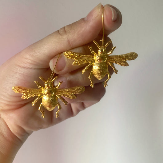 Giant Bee Earrings Gold or Silver - Gg's Pin-up Couture