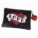 custom glitter love handbag clutch