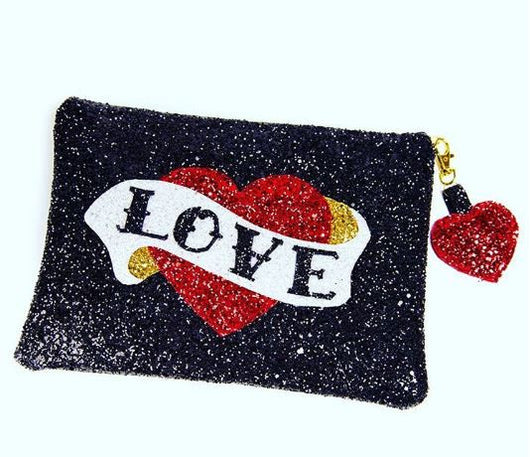 Customisable Tattoo Heart Clutch - Gg's Pin-up Couture