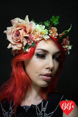 image of floral crown in peach in a bohemian style