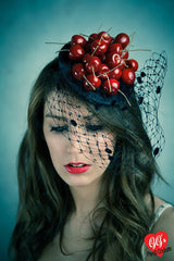 vintage style cherries fascinator hat with veil