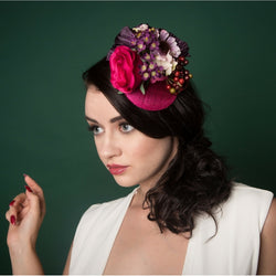pink floral fascinator with berries summer spring bridal