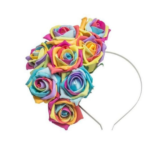 a fascinator floral crown made from rainbow roses