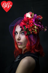 quirky spring fascinator with flowers and ladybirds