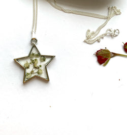 Only One Available -Star Pressed Gypsophila Pendant