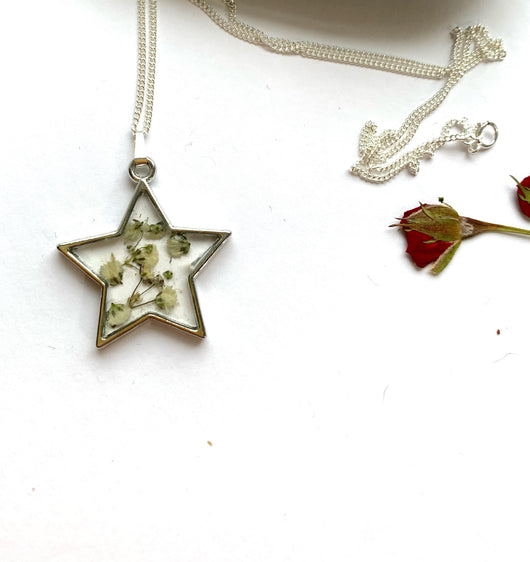 Only One Available -Star Pressed Gypsophila Pendant - Gg's Pin-up Couture