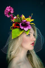 Tropical Flowers Fascinator with Quirky Extended Bloom