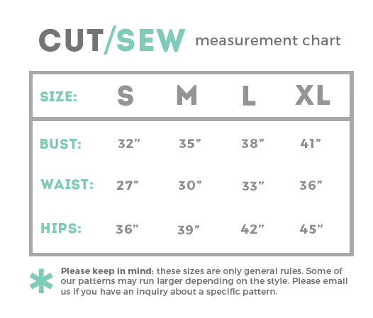 CUT/SEW Measurement Chart