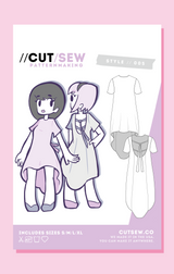 CUT/SEW Ribbon Shirtdress Fashion Sewing Pattern Front Tag
