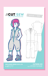 CUT/SEW Flight Suit Unisex Sewing Pattern Front Tag