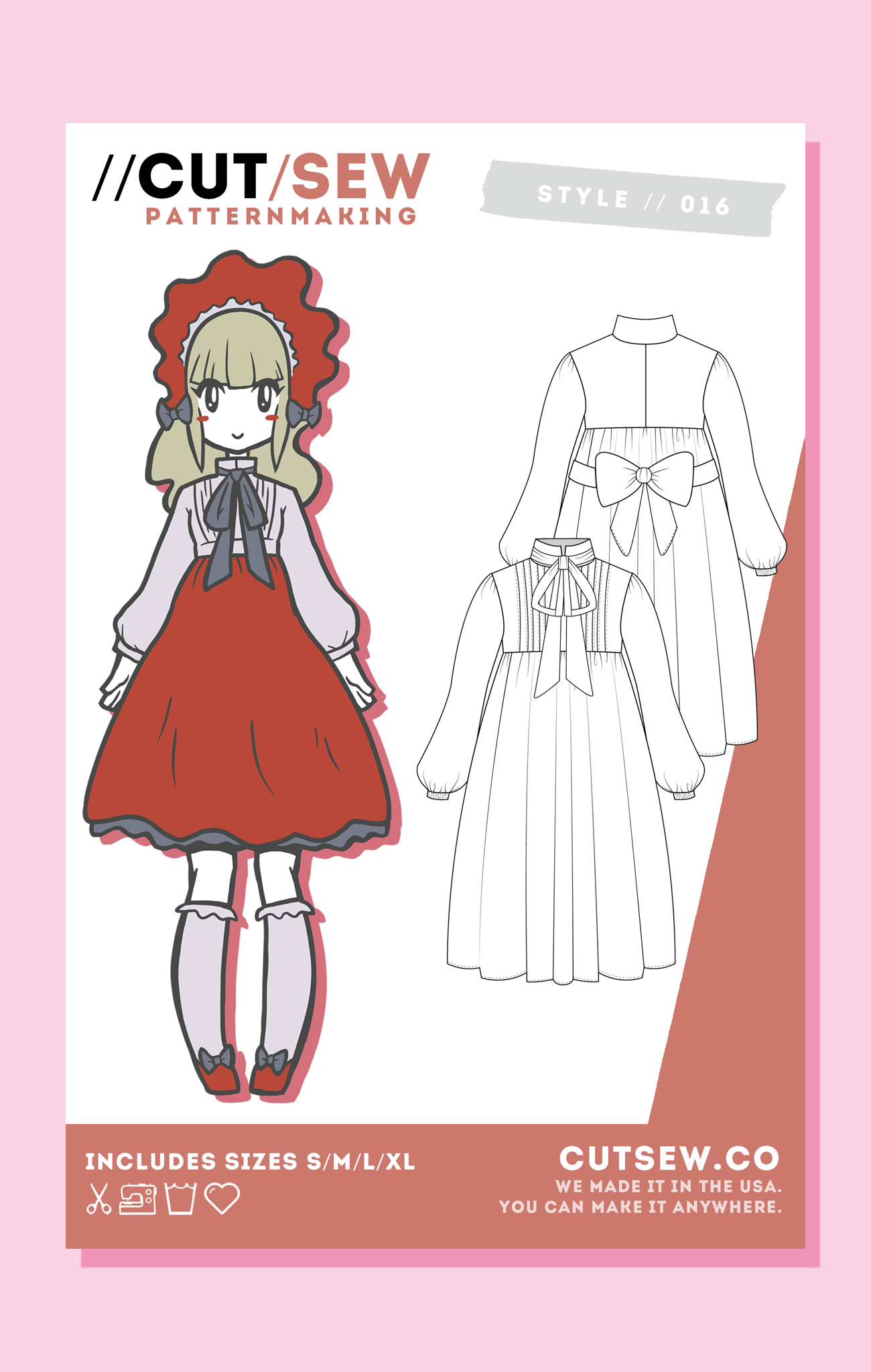 CUT/SEW Beginner Friendly Japanese Lolita OP Sewing Pattern