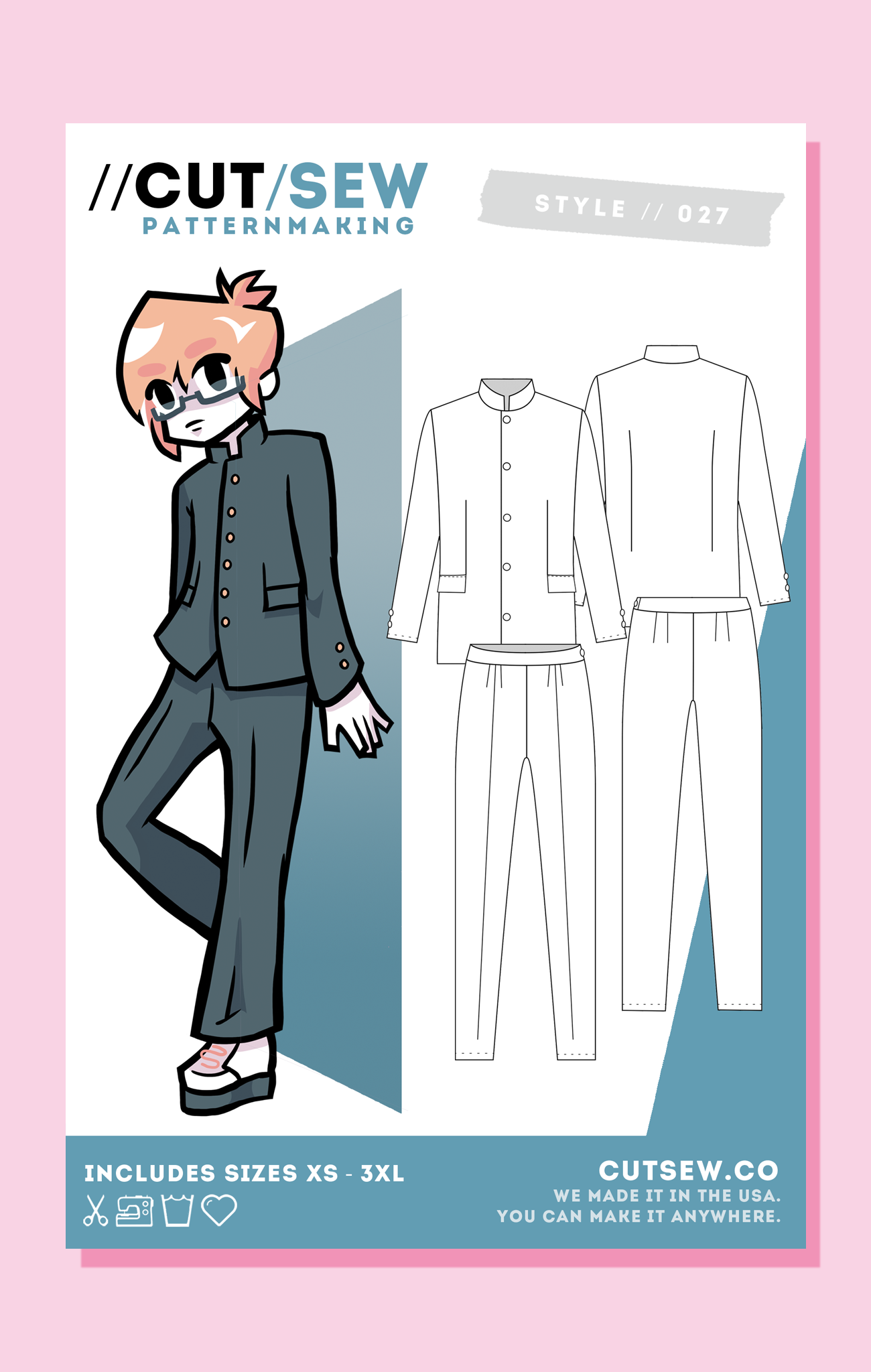 CUT/SEW Beginner Friendly Gakuran School Boy Uniform Sewing Pattern