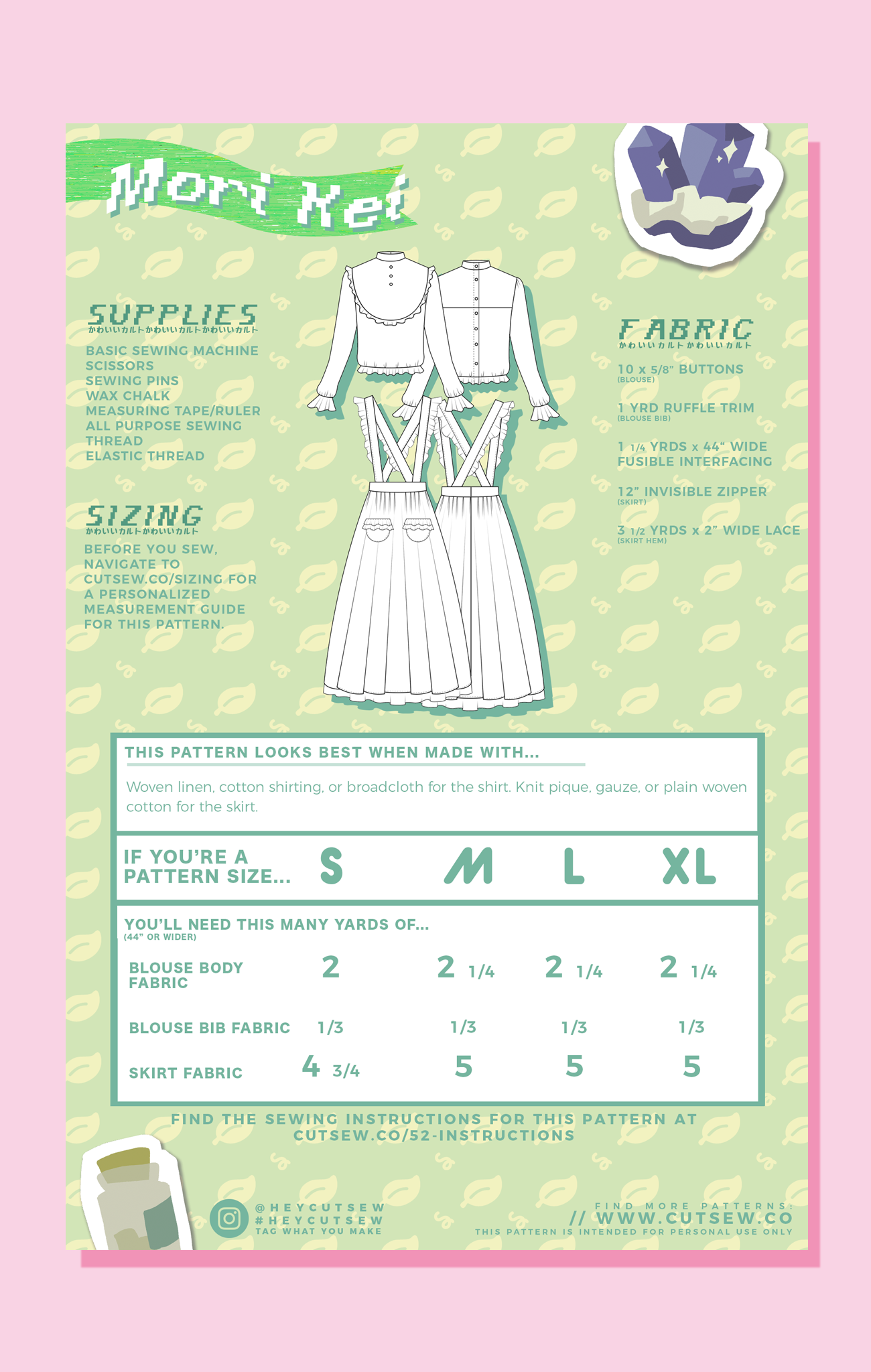 CUT/SEW Beginner Friendly Mori Girl Sewing Pattern