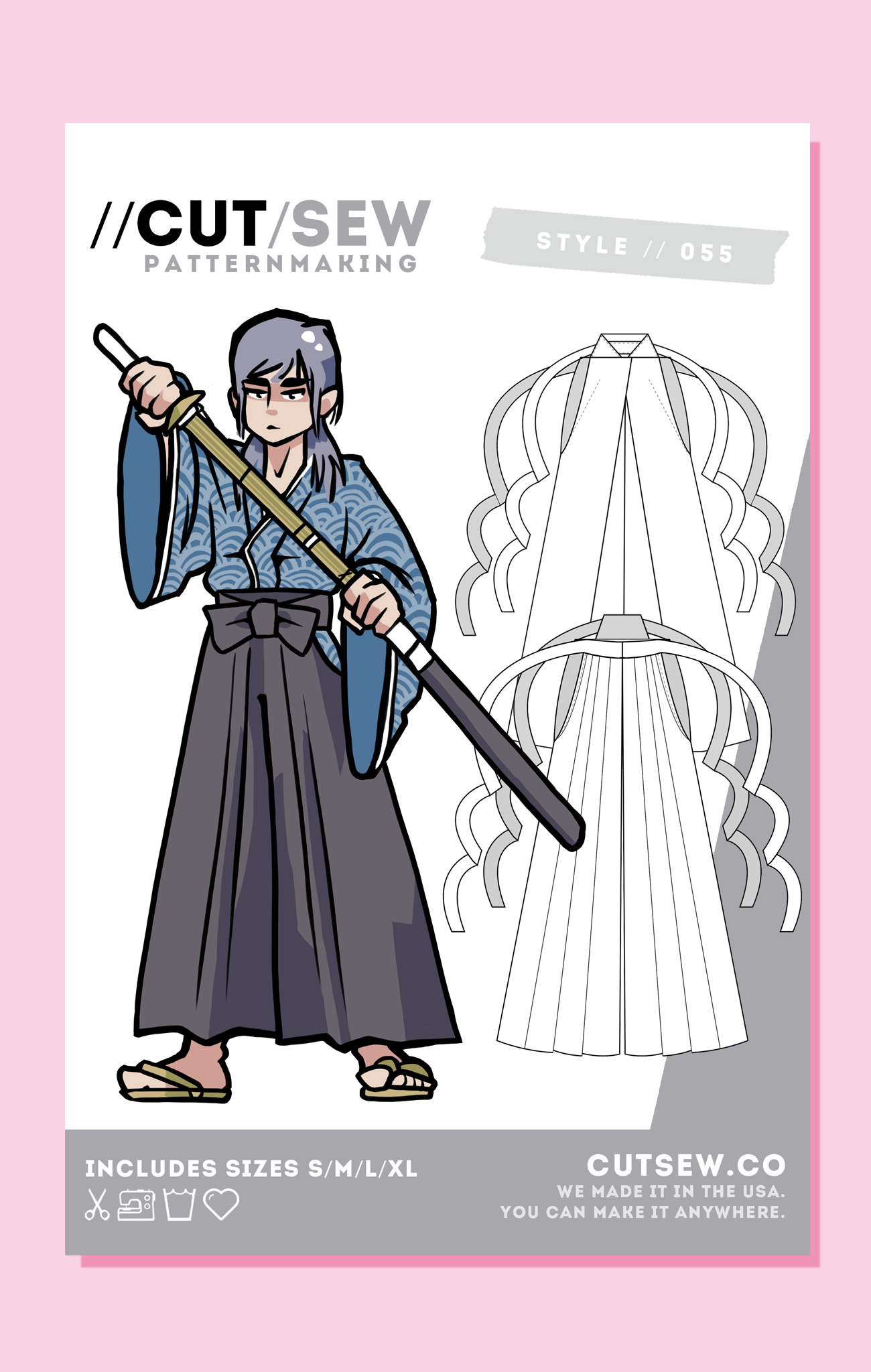 CUT/SEW Hakama Kendo Pants Sewing Pattern
