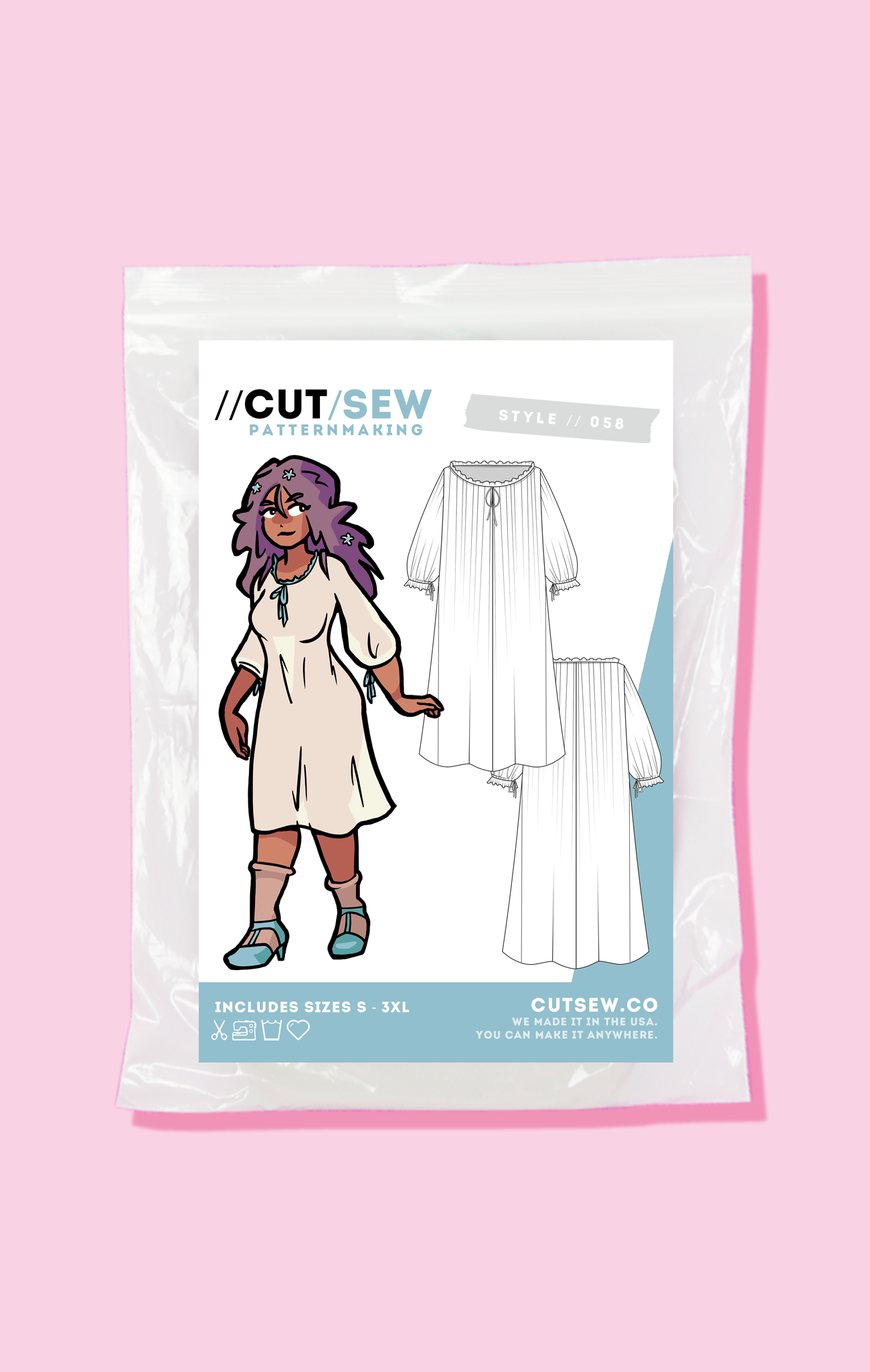 CUT/SEW Chemise Underdress Beginner Friendly Sewing Pattern