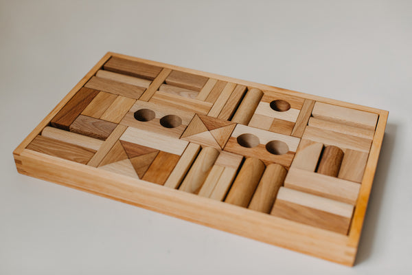 Natural Blocks in Tray - 54 Pieces