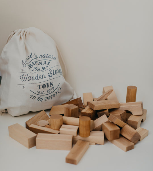 Natural Blocks in Sack XL - 50 Pieces