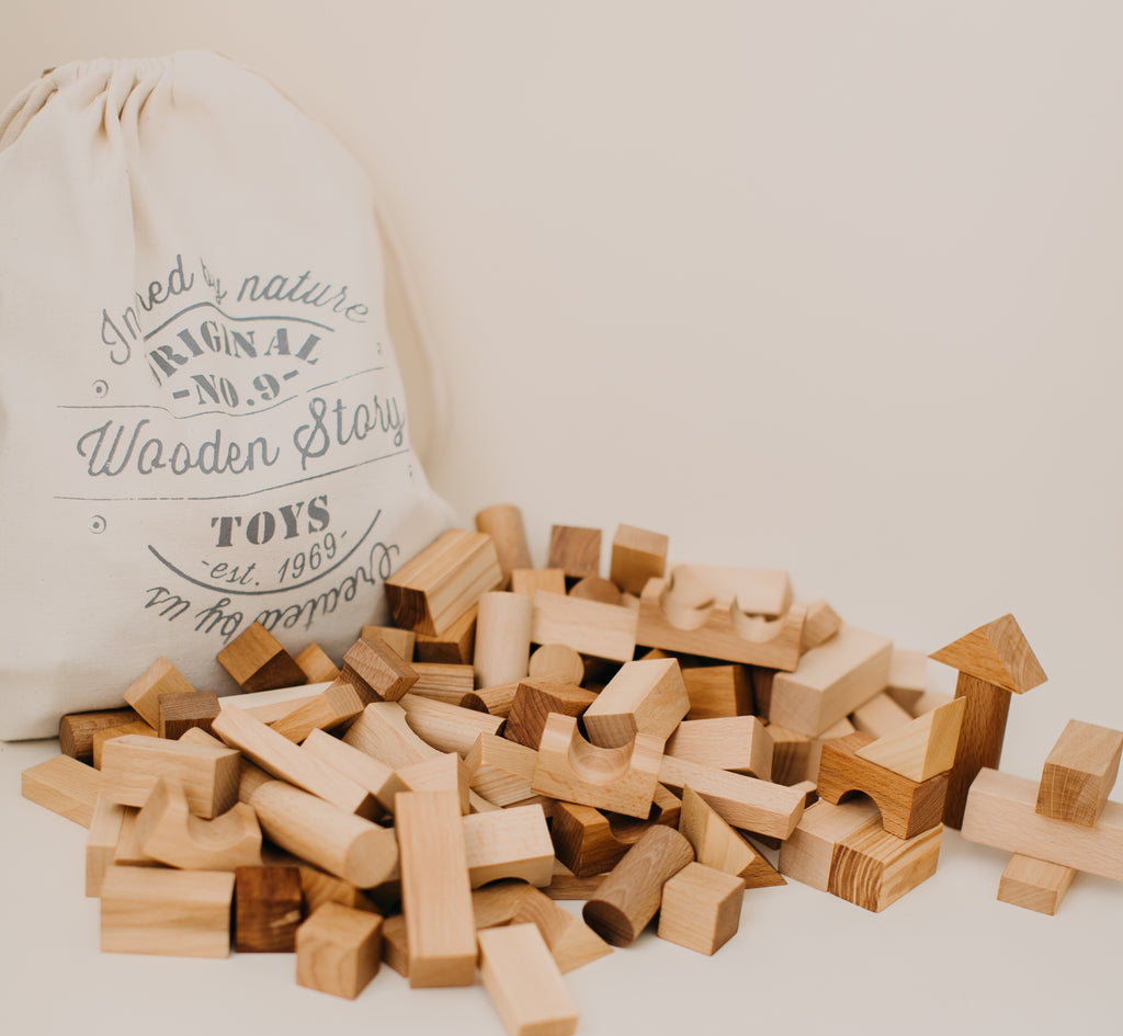 Natural Blocks in Sack - 100 Pieces