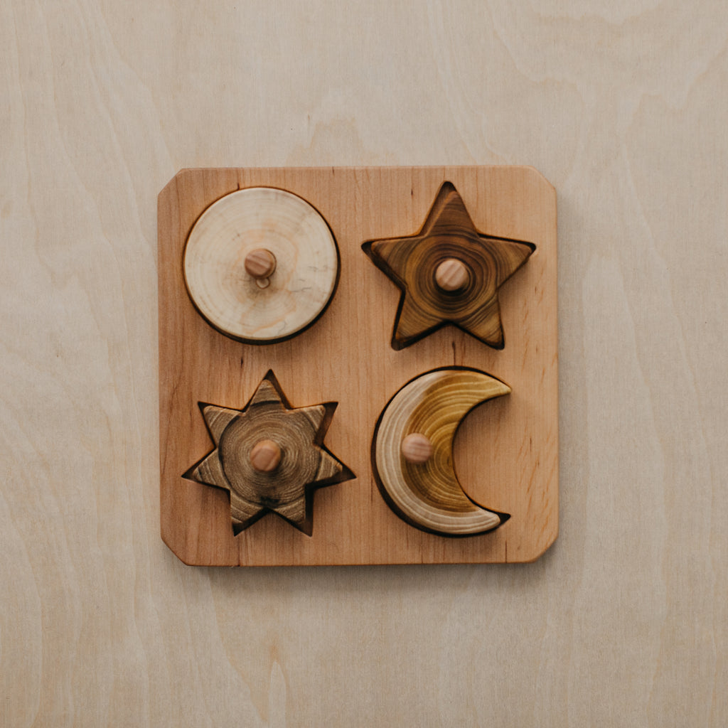 Wooden Moon + Stars Puzzle