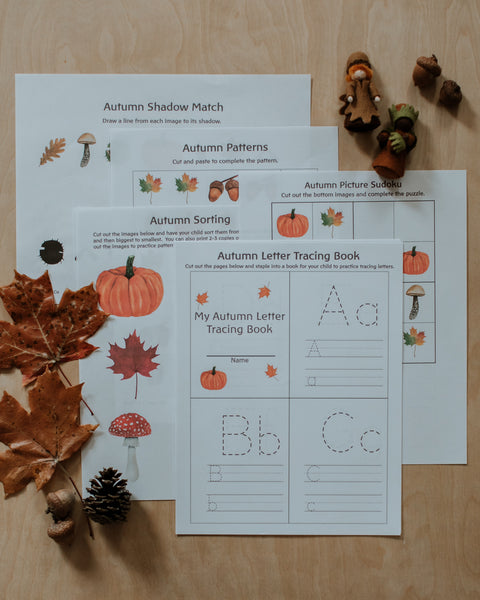 Preschool + Kindergarten Autumn Activity Pack Printable