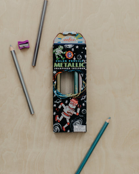 Silver Robots Metallic Pencils