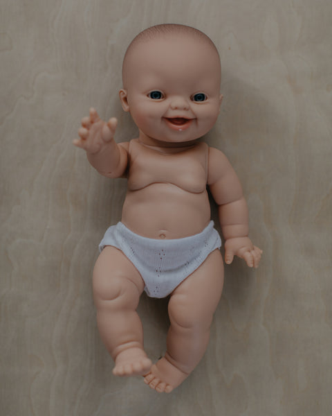 Male Doll Smiling, White