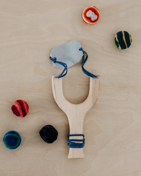 Wooden Slingshot and Felt Ball Set