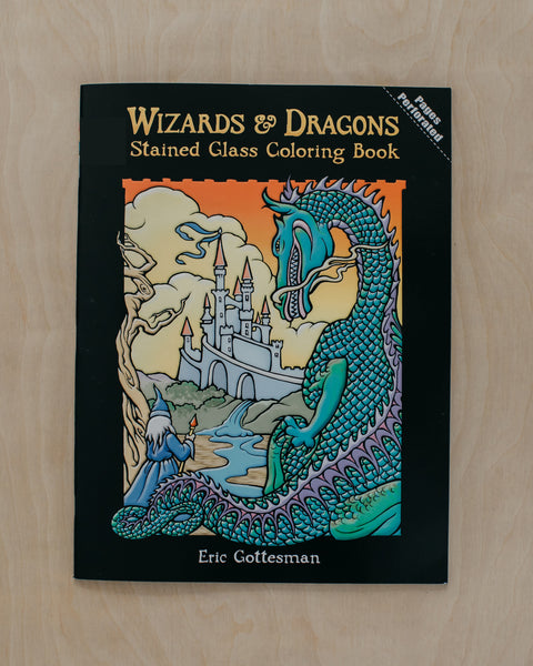 Wizards + Dragons Stained Glass Coloring Book