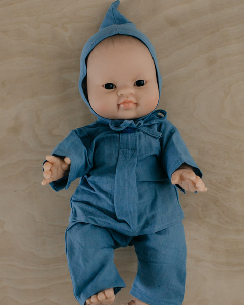 Doll's Blue Linen Ensemble