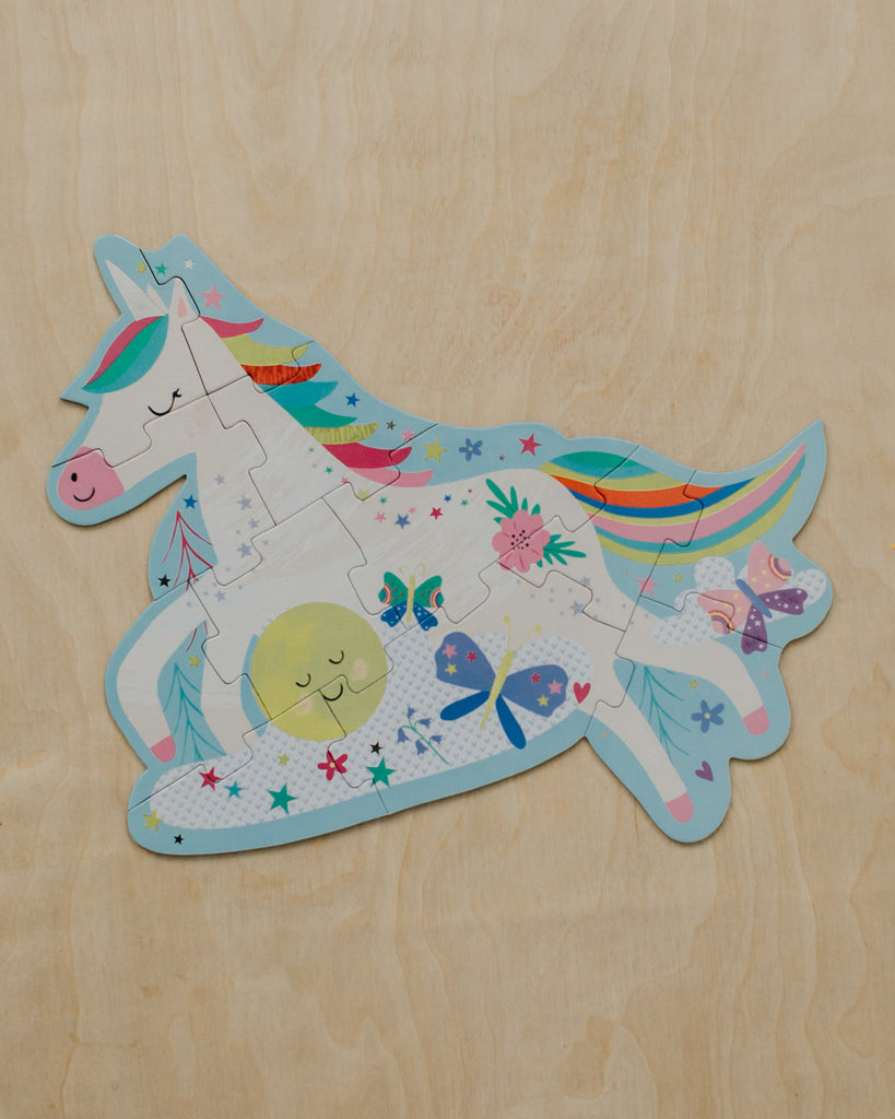 Rainbow Unicorn Shaped 12 Piece Puzzle