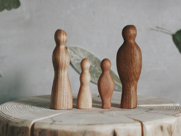 Hand-carved Family Wooden Figures
