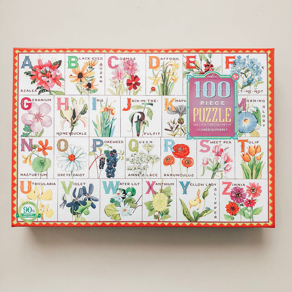 Flower Alphabet 100 Piece Puzzle - Wild Creek Co