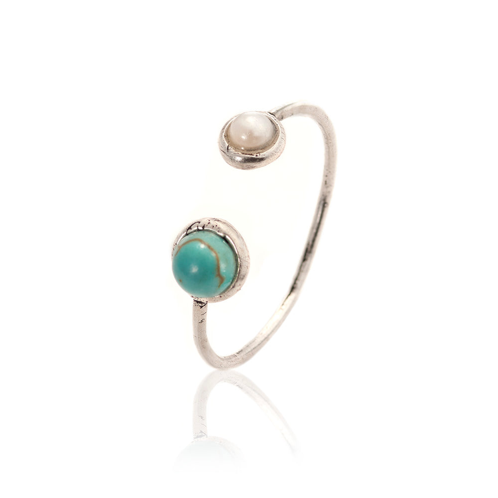 TURQUOISE & PEARL OPEN RING