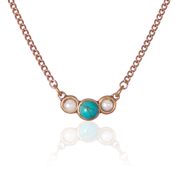 TURQUOISE & PEARL NECKLACE