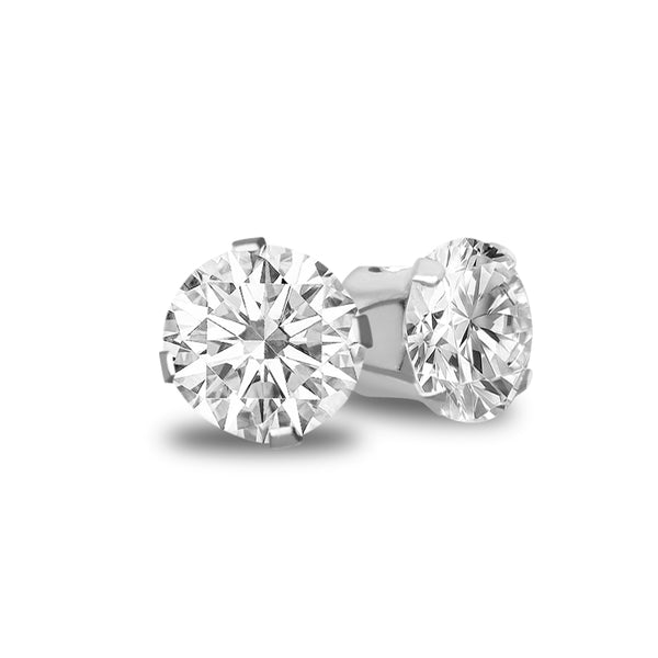 Cubic Zirconia Stud Earrings – 925 Sterling Silver Plated Round Cut