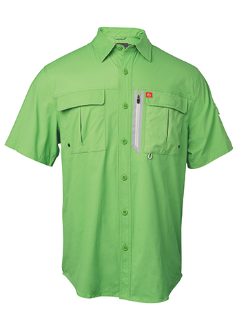 Stretch rip-stop fabrication incorporates quick-dry, moisture wicking and sun protection with a waterproof zip chest pocket ideal for keeping valuables dry while on the water or in inclement weather. Pairs well with the long-sleeve version for cooler temps.