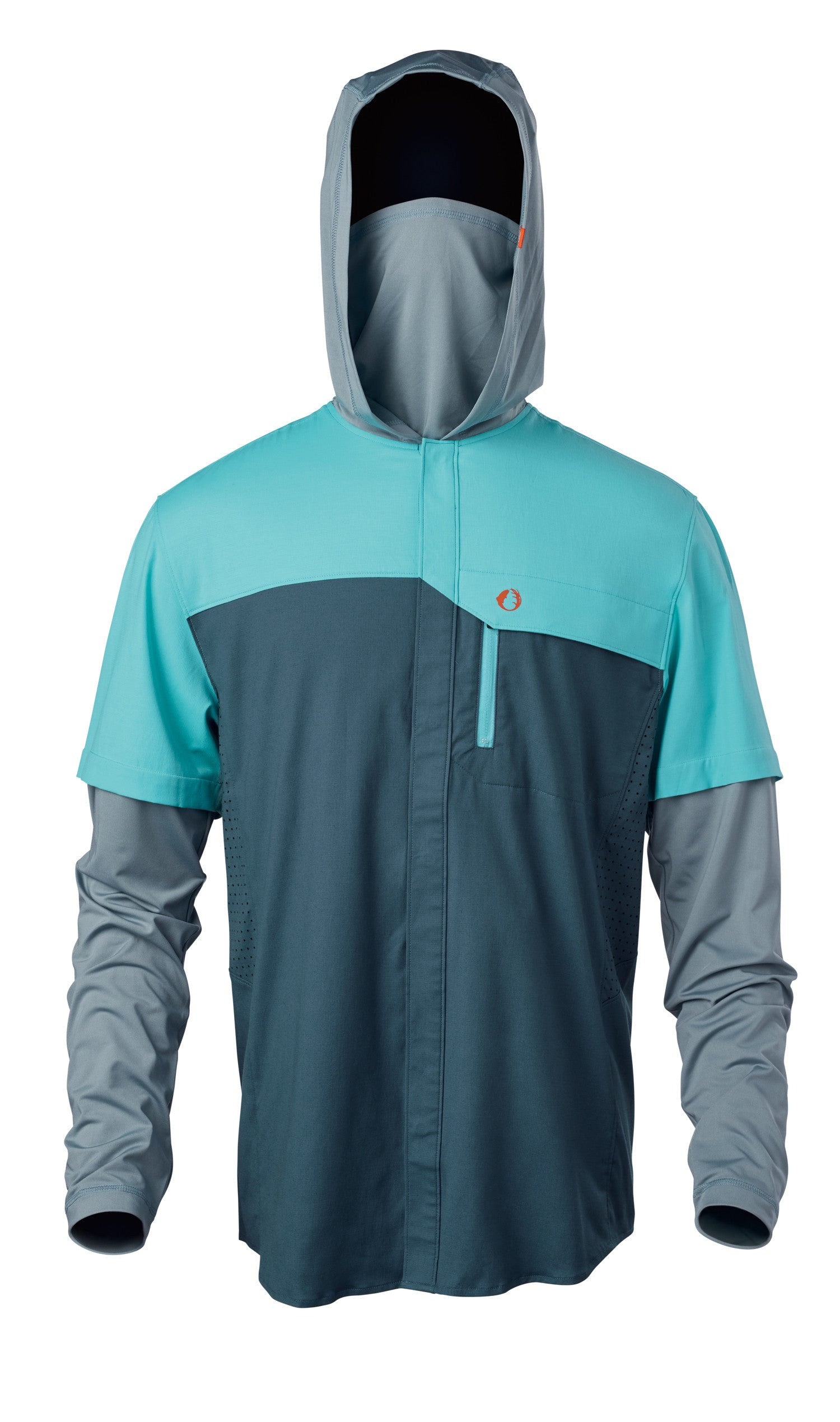 Quick-dry, moisture wicking cotton/poly fishing shirt keeps you focused on the catch with its knit hood, built-in gaiter and long sleeves for extra sun protection.