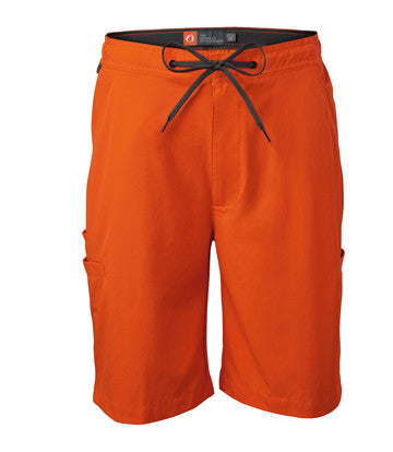 """9"""" nylon/spandex shorts with adjustable drawstring and elastic waist plus six pockets—including one for your tools and one lined with neoprene to keep your beverage cool on hot summer days."""
