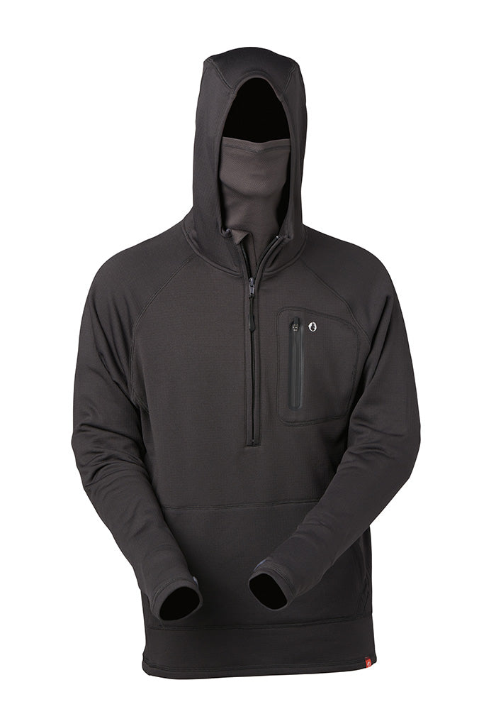 Technical thermal hoodie with built-in neck gaiter and reverse entry stash pocket. An innovative stand-alone or layering piece perfect for any outdoor pursuit.