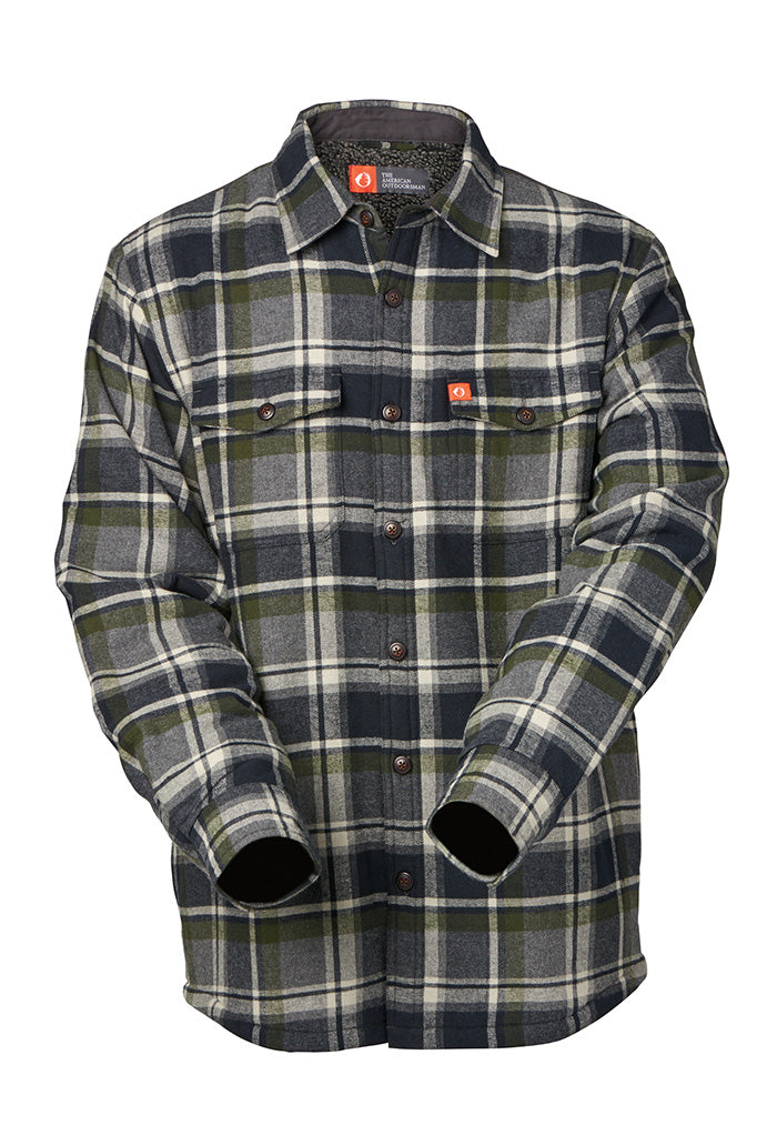 Snowcap Sherpa highlights this lined flannel shirt jacket. With reinforced elbow patches, knit storm cuffs and side-entry pockets, the Missoula is another must-have cold weather layering piece for any outdoor enthusiast.