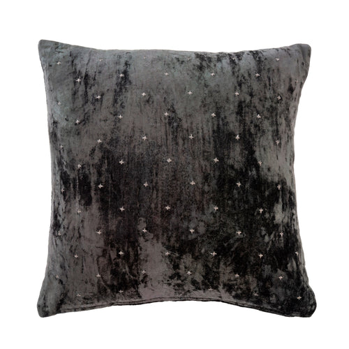 Grey Velvet Cross Cushion - Throw Pillows