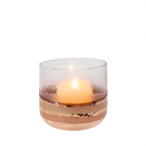 Blush Tone Glass Candle Holder