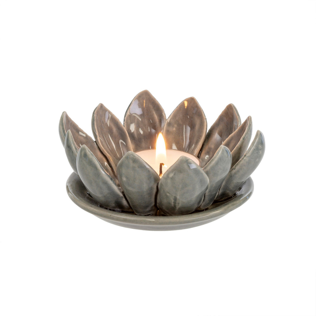 Grey Flower Stoneware Tealight