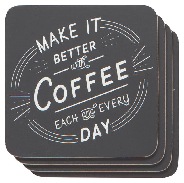 Better With Coffee Coasters