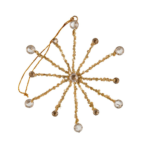 Gold and Crystal Snowflake Ornament