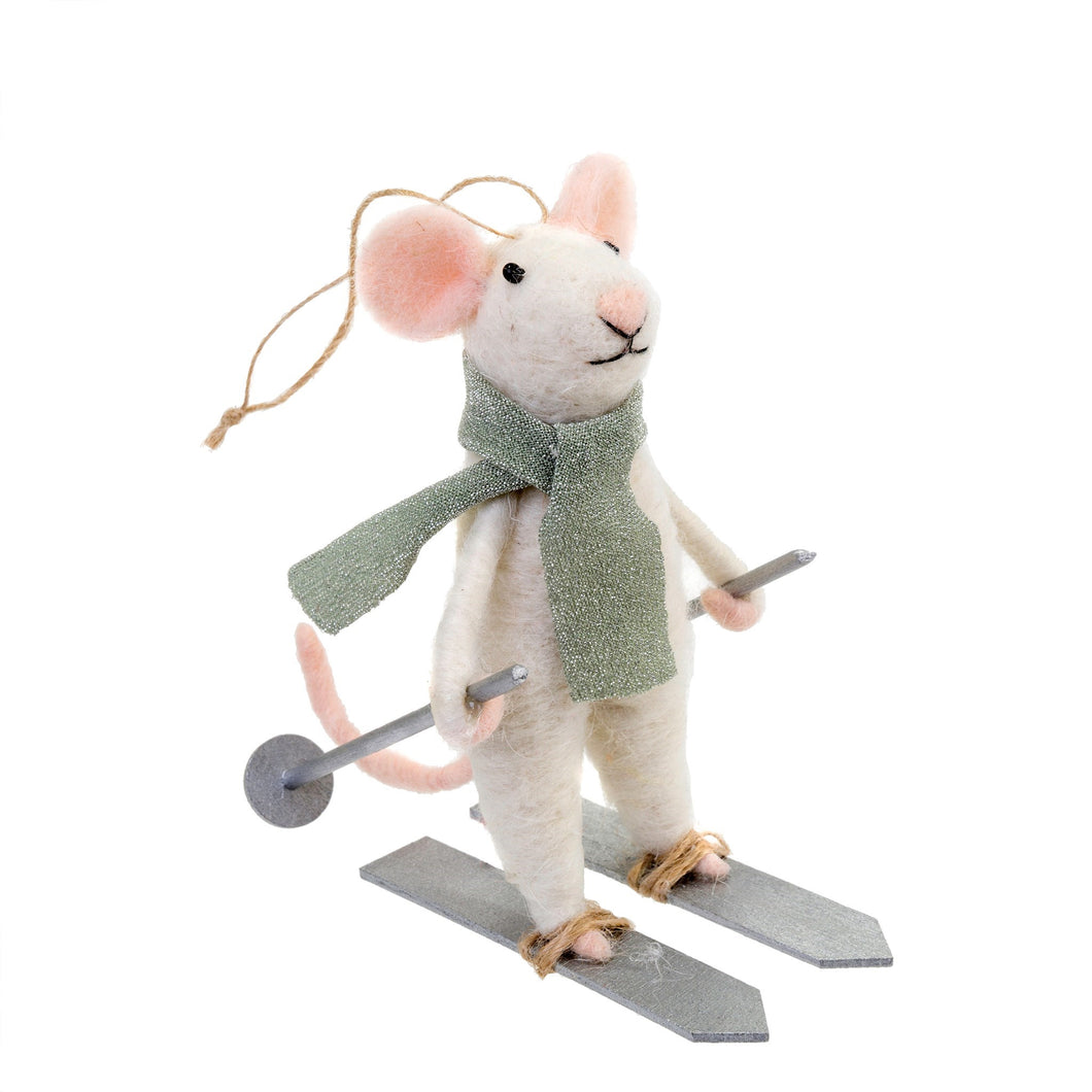 Downhill Dennis Woolen Mouse Ornament