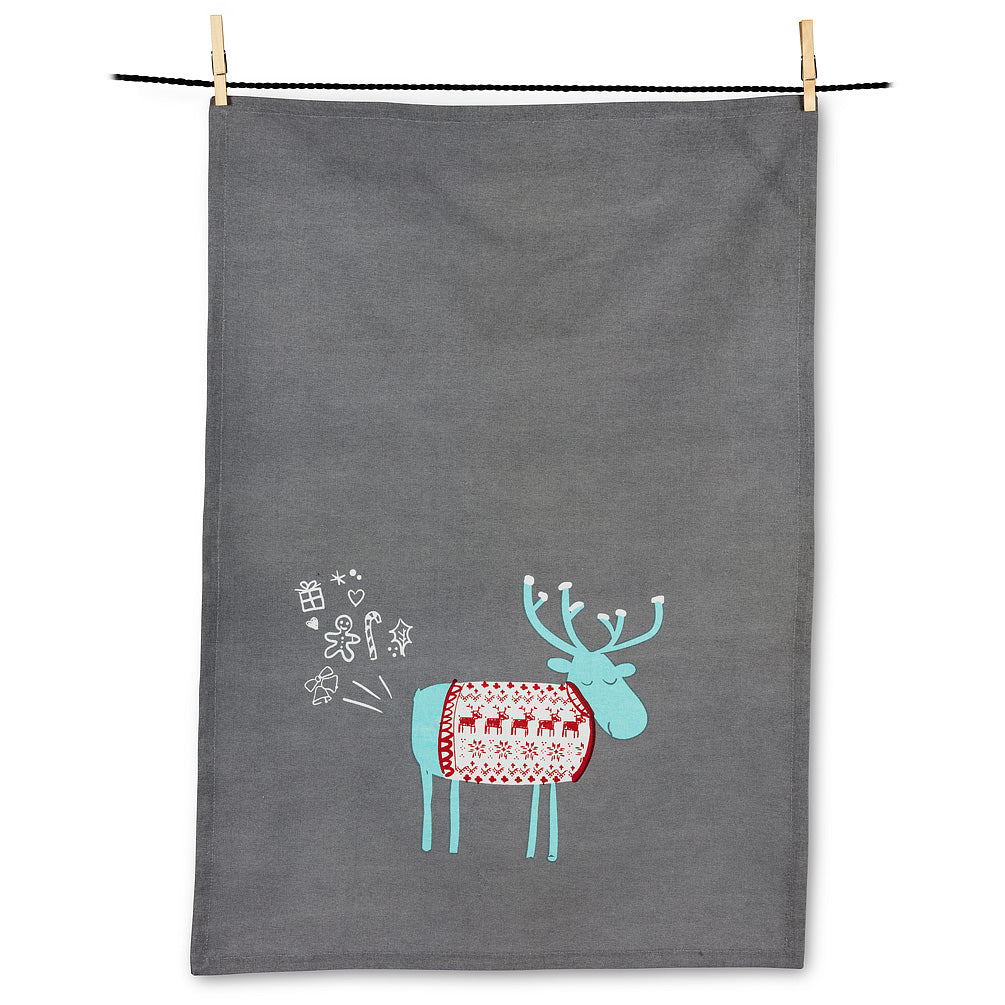 Funny Gifts Farting Moose Tea Towel