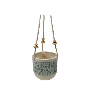 Hanging White And Blue Ceramic Pot