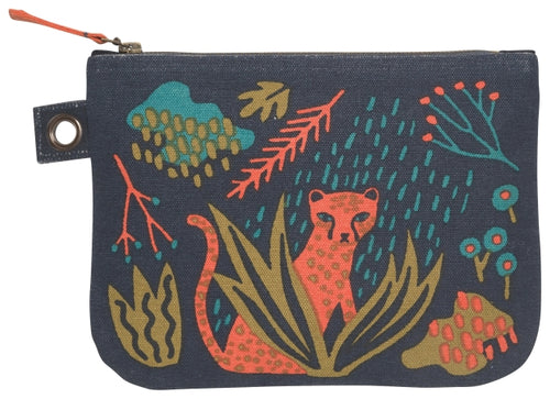 Large zipper pouch with rain forest design